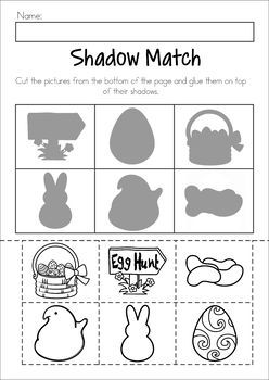 Easter Preschool No Prep Worksheets & Activities. Shadow matching cut and paste activity.