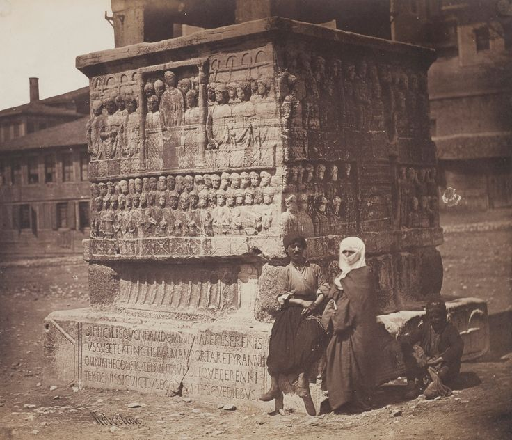 Base of the Obelisk of Theodosius, Constantinople, 1855, by James Robertson  (note inscription on base)