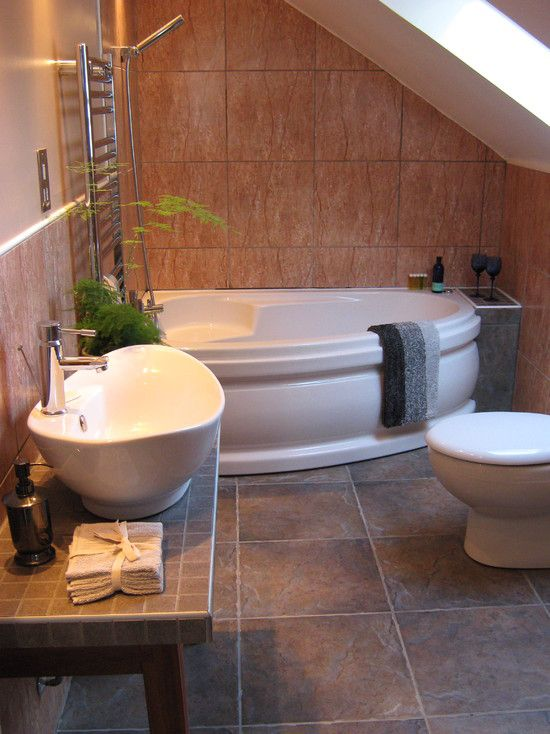 Pin by jackie ostlie on inspirational spaces pinterest for Small attic bathroom ideas