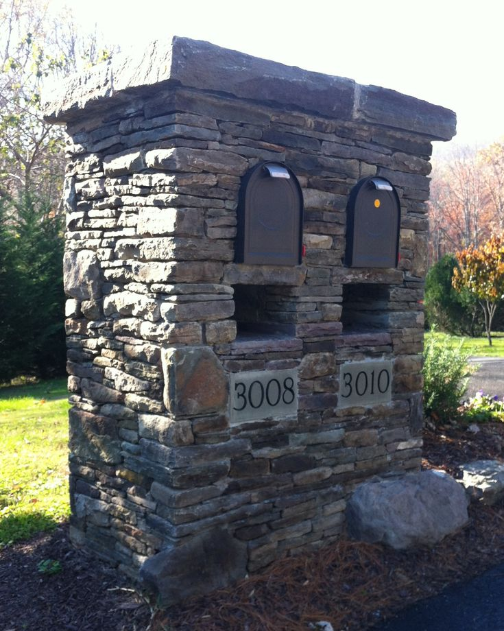 Stone double mailbox idea. A little big, maybe.