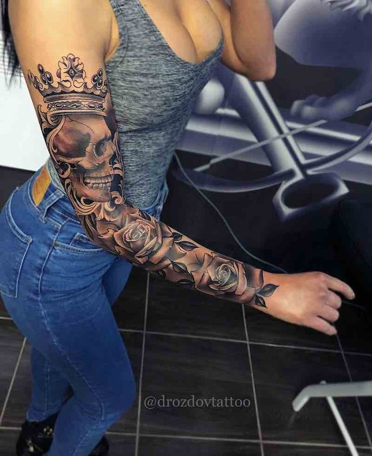 Skull And Roses Womens Tattoo Sleeve By Vladimir Drozdov Best Sleeve Tattoos Girls With Sleeve Tattoos Sleeve Tattoos For Women