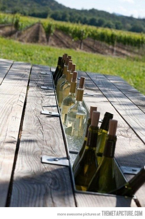 Table-top bar: swap the middle board with a rain gutter.Good Ideas, Built In, S'Mores Bar, Drinks Coolers, Cool Ideas, Outdoor Tables, Picnics Tables, Wine Coolers, Backyards