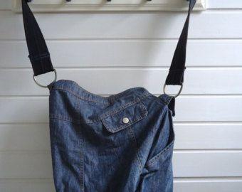 Asymmetrical bag made from a denim skirt by MargOntwerp