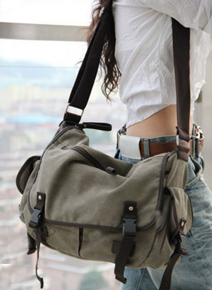 Vintage Canvas Messenger Bag Book Laptop Shoulder School Ladys Women Men Z Unbranded Messengercrossbody Bags In 2018