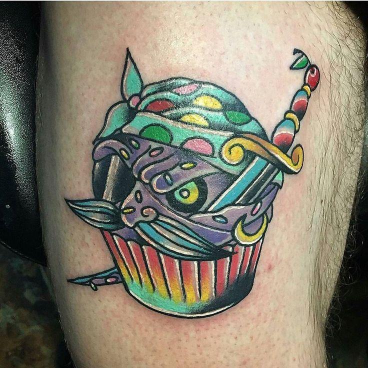 Felix Hardy - IG: @felixhardytattoos Clarksville TN #tattwho #tattoo #tattoos #tattooartist #tattooartists #tattooist #portfolio #artist #tattoolife #tatuerare #tatouage #tatuaje #instaart #instatattoo #traditional #cupcake #scurvy #color #traditionaltattoo #clarksville #tennessee #pirate #eyepatch #mustache #dagger