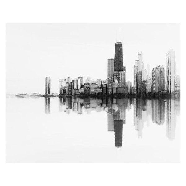 Photo de la Skyline de Chicago l'onde sonore, art pariétal print,... ❤ liked on Polyvore featuring home, home decor, wall art, cityscape wall art, photo wall art, minimal home decor, chicago wall art and chicago skyline wall art