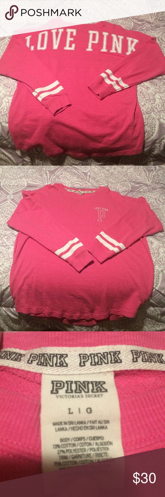 Pink spirit jersey Pink spirit jersey by pink by Victoria's Secret. Only worn a few times. Meant to be a little big. PINK Victoria's Secret Tops Tees - Long Sleeve