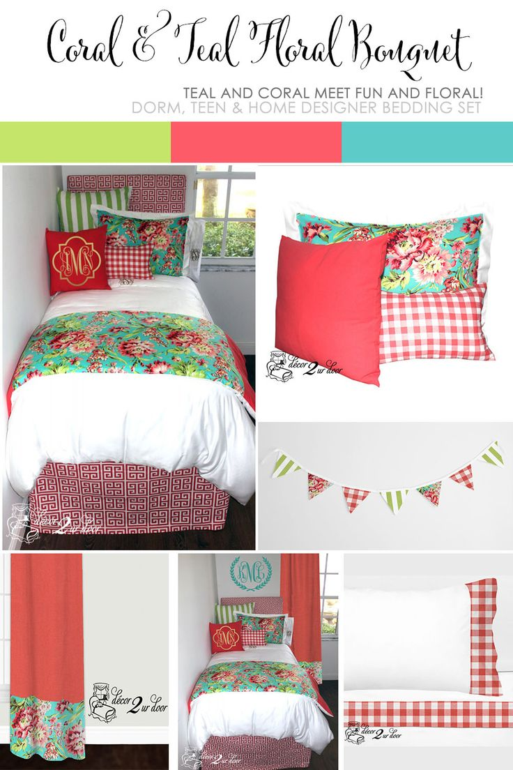 Coral teal floral bouquet designer dorm bedding set for Living room quilt