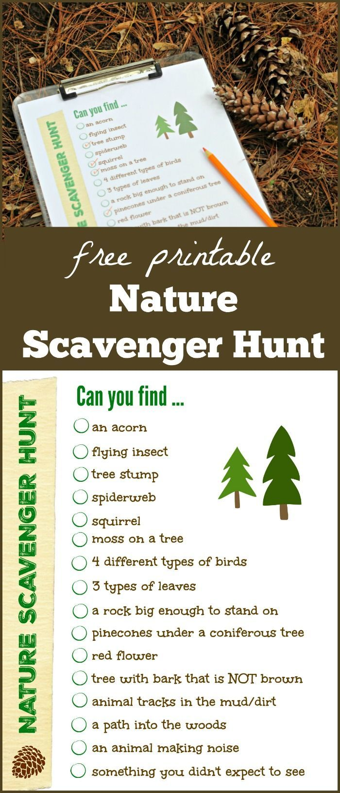 Nature Scavenger Hunt free printable list | outdoor STEM for kids | hiking with kids