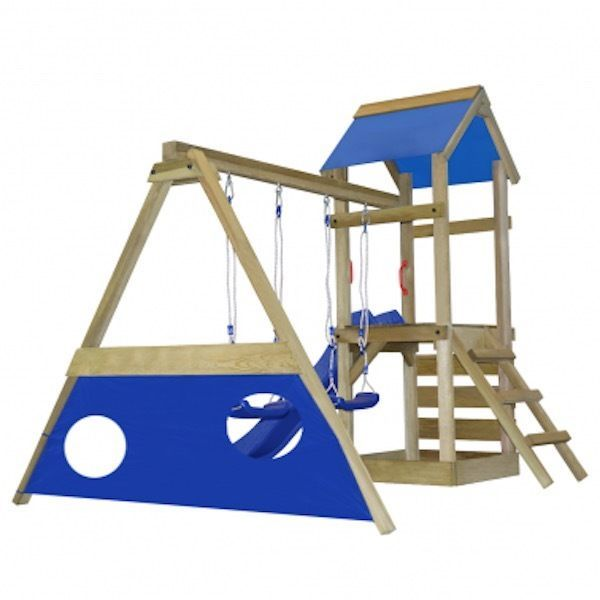 Outdoor Climbing Tower Frame Kid Swing-Slide-Goals Wooden Garden Playhaouse Set