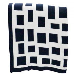 LE FORGE Cotton Throw Cuboids Navy & Natural