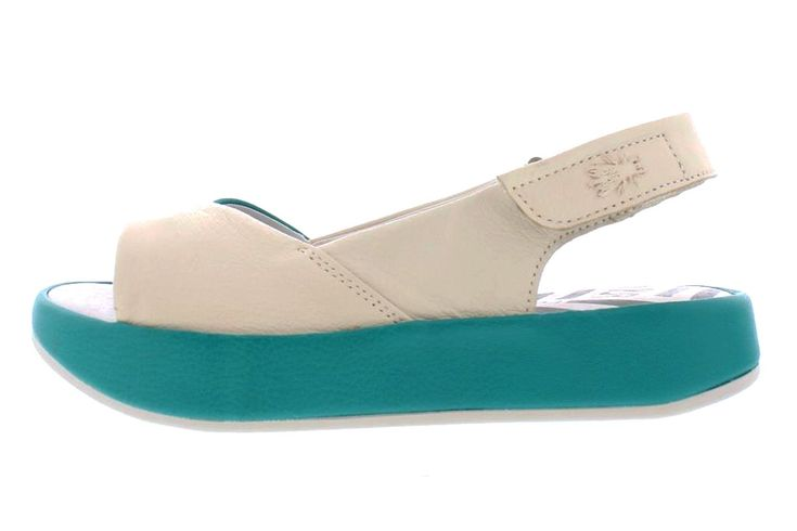 Fly London Bari Off White Verdigris Teal Leather Open Toe Platform Sandals