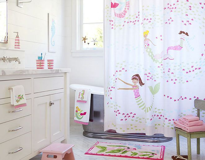 The Mermaid Shower curtain is so adorable.  This is for a child's bathroom (never did have one of my own when I was a child!) but I wouldn't mind having it in my adult bath!  And, of course, Mermaids love sea glass!  Mermaid | Pottery Barn Kids