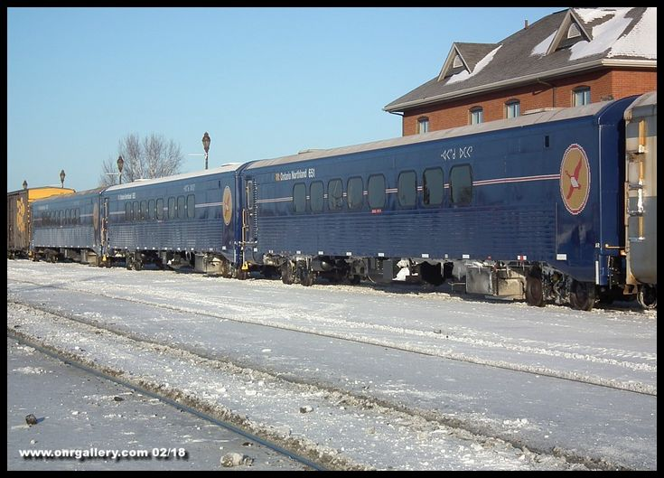 The 3 amigos! Rebuilt coaches 650, 651, and 652 stand ready on the main at Cochrane for the journey to Moosonee Feb. 6th.