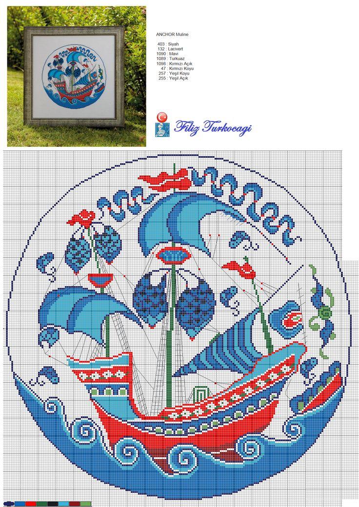 Evet, çini kalyon çalışmamı bekleyenler :) Yoğun ilginize çok teşekkür ederim...Designed and stitched by Filiz Türkocağı...( İznik chini plate )