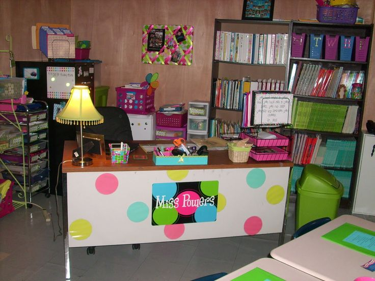 Cute desk idea.  Notice the bins for storing daily work.