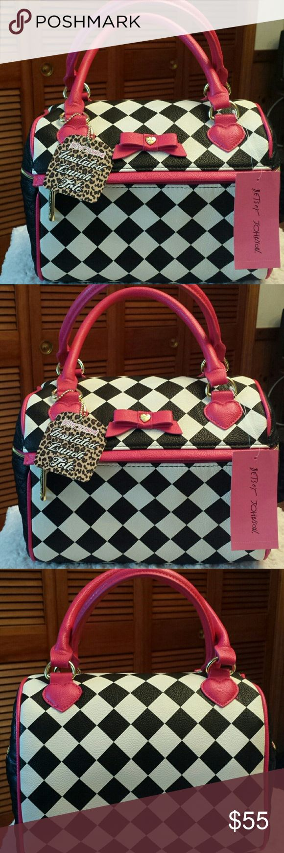 Betsy Johnson NWT Speedy Lunch Tote Betsy Johnson NWT Black, White And Red print Speedy Lunch Tote, Top Handles, Zippered Closure Betsy Johnson  Bags Totes