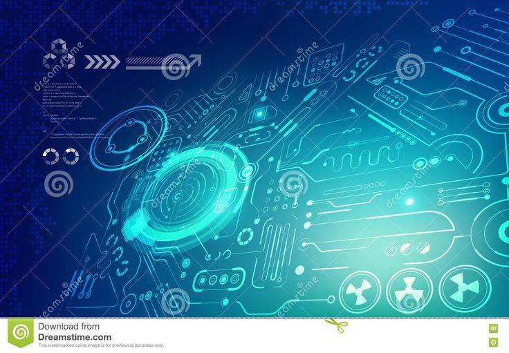 Contexto Futurista; Fondo Abstracto Del Circuito; Tecnología Digital Azul; Ilustración del Vector