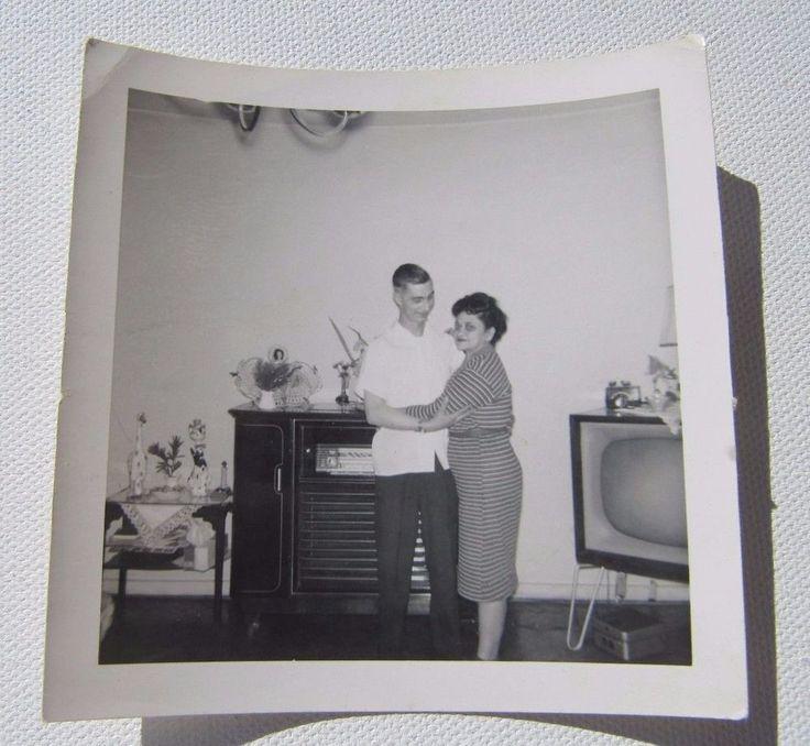 Vintage Snapshot Photo Mid Century Modern Hairpin TV Radio NikNaks Decor Mom Son