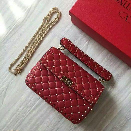 2016 F/W Valentino Garavani Rockstud Spike Medium Bag in Red Leather
