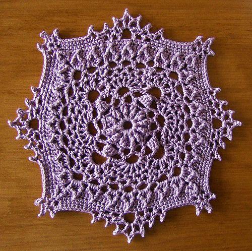 Crochet square mini doily. Design by Patricia Kristoffersen