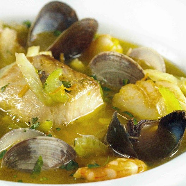 Chock full of fresh seafood, you'll love my version of this Classic from Marseilles. Clams, mussels, shrimp and scallops simmered in a light saffron broth. Simply delicious!