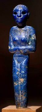 Lapis lazuli (they think from Afghanistan) little goddess with short-cropped hair. Pre-dynastic Egypt, Naqada era.