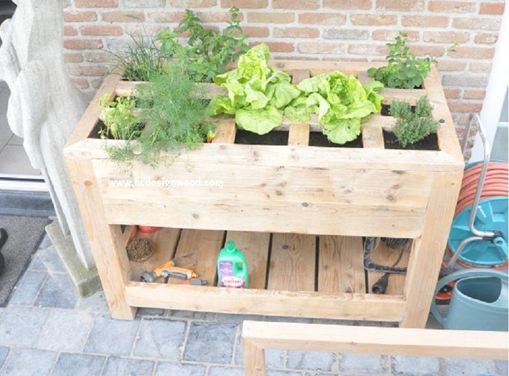 kruidenbak in gebruikt steigerhout  - kruidenbak in gebruikt steigerhout - planten , kruidenbakken en rekken