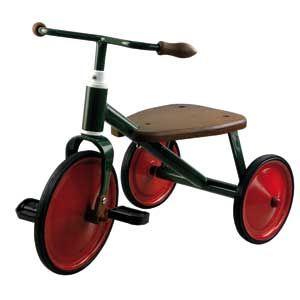 Vélo tricycle enfant à pédales rétro en bois et métal vert rouge