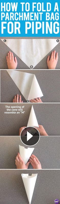 Learn how to make a piping bag out of parchment paper. Parchment paper pastry bags are perfect for cake decorating, especially piping small details, fine lines, writing without a tip, stringwork and for whenever small amounts of royal icing, buttercream or melted candy are needed.