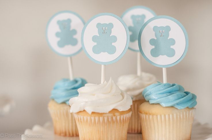 Teddy Bear Baby Shower Cupcake Toppers in Light Blue & Gray