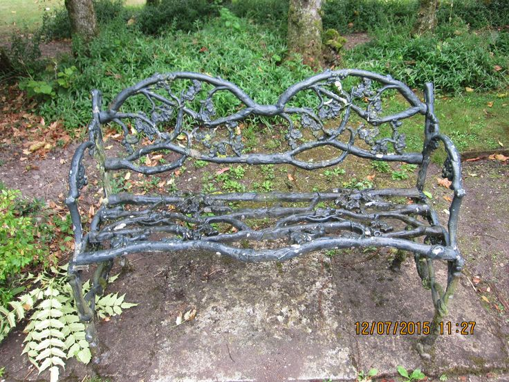 Garden seat made of iron at Athelhampton House Dorset