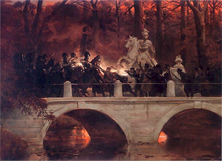 Wojciech Kossak - Starcie belwederczyków z kirasjerami rosyjskimi na moście w Łazienkach