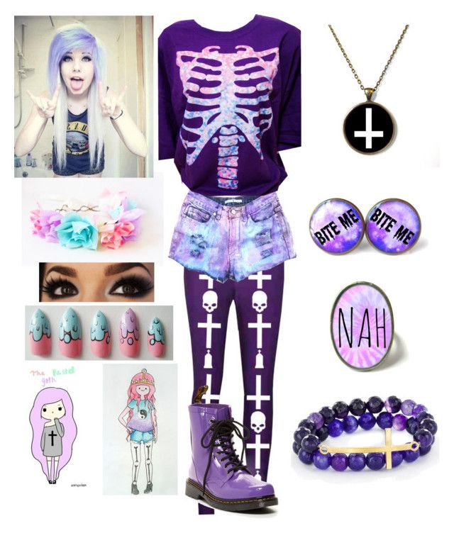 """""""Pastel Goth"""" by alexdacko ❤ liked on Polyvore featuring Dr. Martens, West Coast Jewelry, women's clothing, women, female, woman, misses and juniors"""