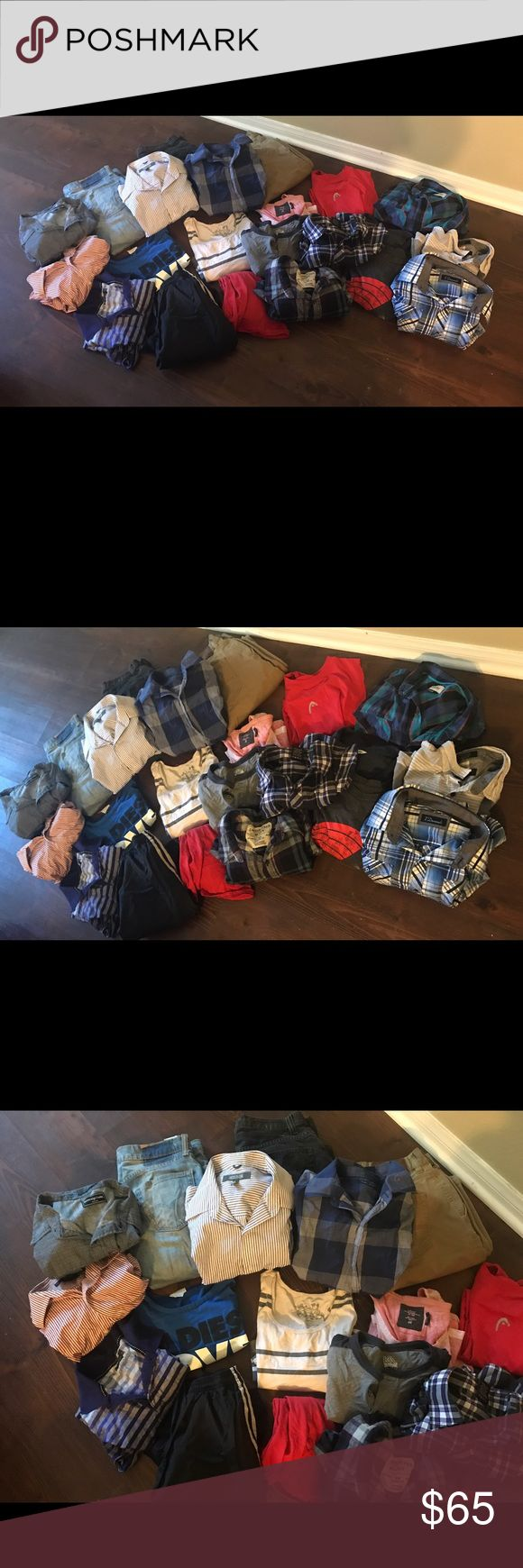 Huge Men's lot of clothes wth different brands! This is a huge bundle for men that includes 24 items! 3 jeans Levi's,w 29 L 30, converse jeans 32 x 30, and quick sliver 30. Bundle also includes Adidas shorts , swim shorts , work out tanks. Dress polos (Calvin Klein), dress shirts (express) long sleeve and short sleeve, and tank tops. Sizes vary from S - L Shirts