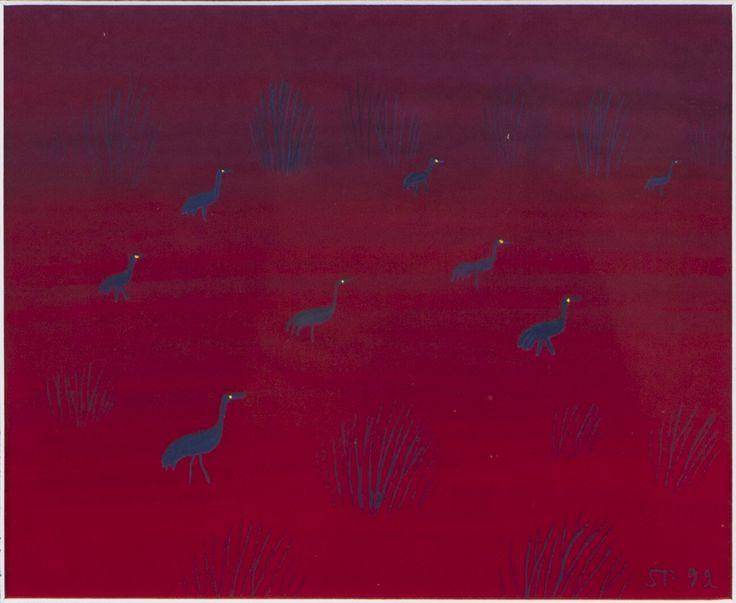 Saara Tikka: Suolla pimenee, 1992, guassi, 13x16 cm - Hagelstam A136