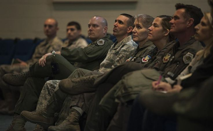 "Members of 57th Wing leadership listen to Simon Sinek as he gives a presentation in the Base Theater of Nellis Air Force Base, Dec. 9, 2016. Sinek's first TEDx Talk on ""How Great Leaders Inspire Action"" is the 3rd most viewed video on TED.com. (U.S. Air Force Base by Airman 1st Class Kevin Tanenbaum/Released)"