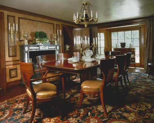A Custom Single Pedestal Extending Dining Table And French Empire Style Chairs By Victoria Son For Howard Slatkin