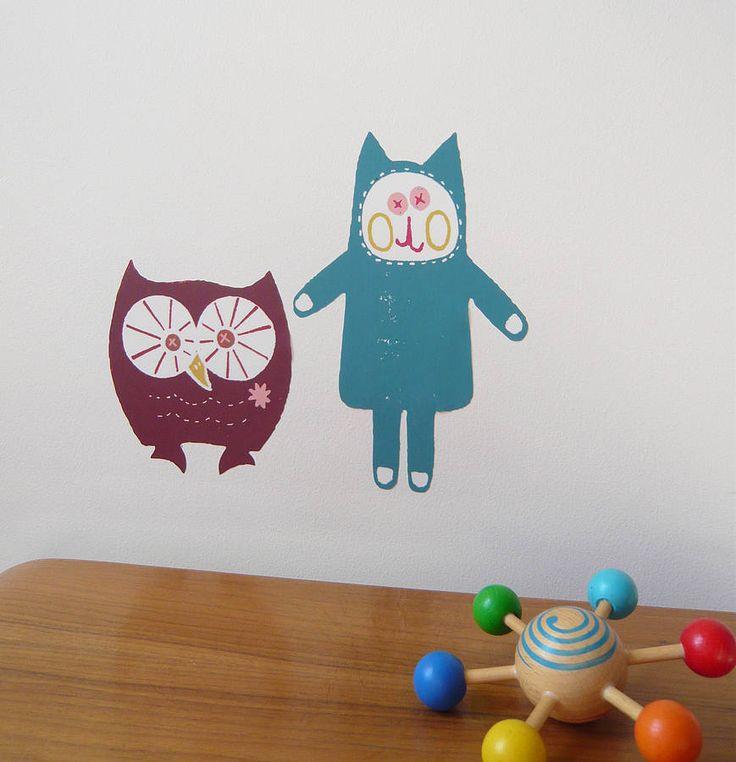 Owl And Cat Miniz Fabric Wall Stickers