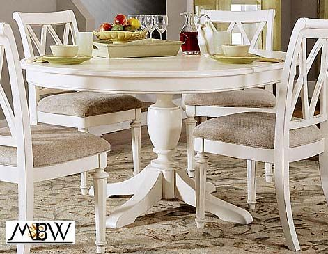 Distressed White Dining Table   TheThingsIWant.com : 4 Ft Distressed White Round Dining Table W/ One ...