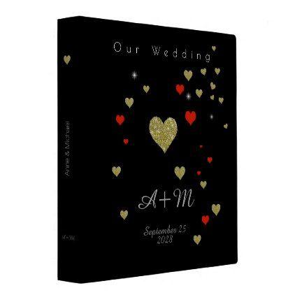 #wedding - #love hearts . our wedding black 3 ring binder