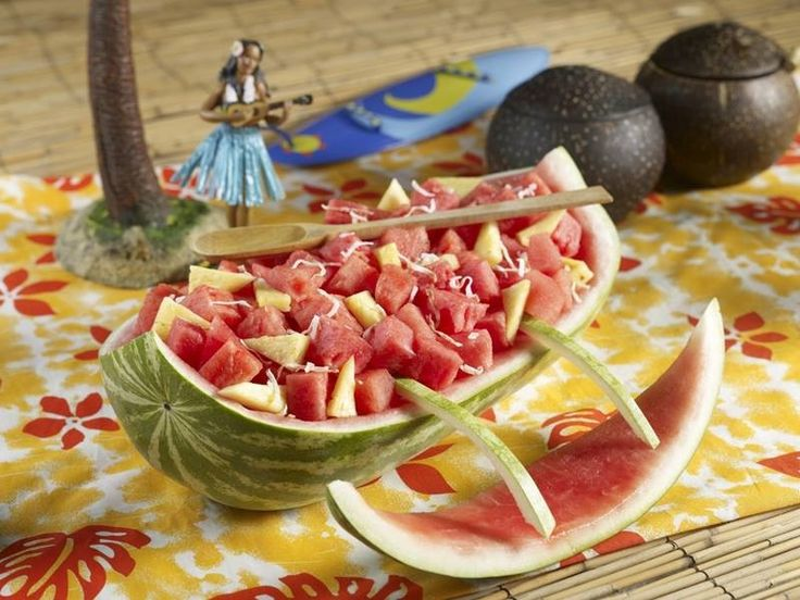Watermelon carving drinks coffee fruit