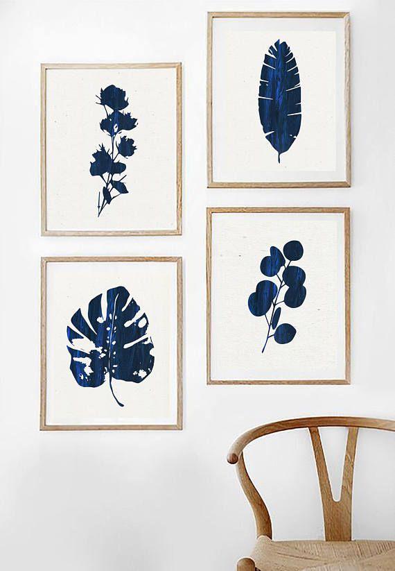 Printable Blue Leaf Print Blue Art Mid Century Modern Art