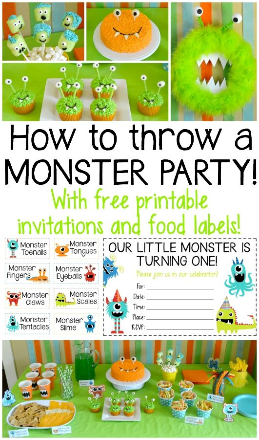 Everything you need to throw an awesome monster party! Perfect for a kids birthday! Includes free printables for food labels and invitations
