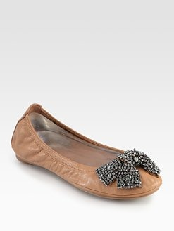 Tory Burch - Eddie Leather & Crystal Bow Ballet Flats-Saks Fifth Avenue