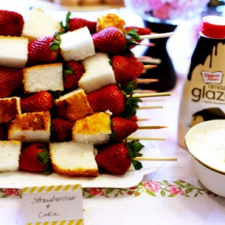 Angel food cake & strawberry skewers....good idea for wedding shower snacks :)