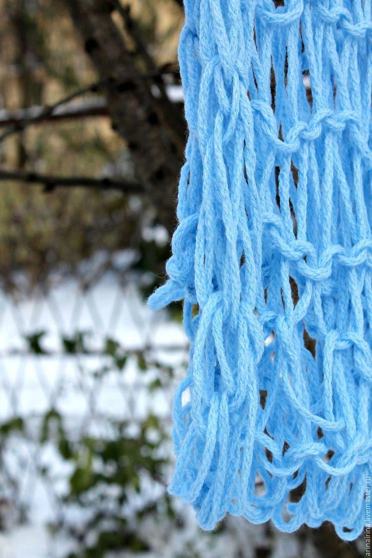 Купить Шарф Нежно-голубой без спиц и крючка - голубой, шарф, шарф женский