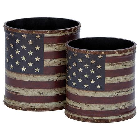 2 wood trash cans with a weathered American flag motif and nailhead accents.  Product: Small and large trash canCons...