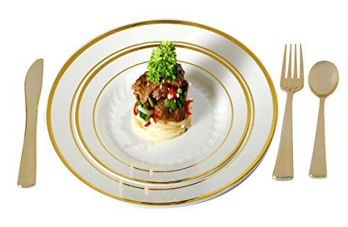 Plastic Plates Disposable-Silverware Combo | Elegant Gold Rimmed Dishes and Plastic Gold Cutlery Dinner Service | Service for 24 (129-piece Bulk Set) IVORY / GOLD. For product & price info go to:  https://all4hiking.com/products/plastic-plates-disposable-silverware-combo-elegant-gold-rimmed-dishes-and-plastic-gold-cutlery-dinner-service-service-for-24-129-piece-bulk-set-ivory-gold/