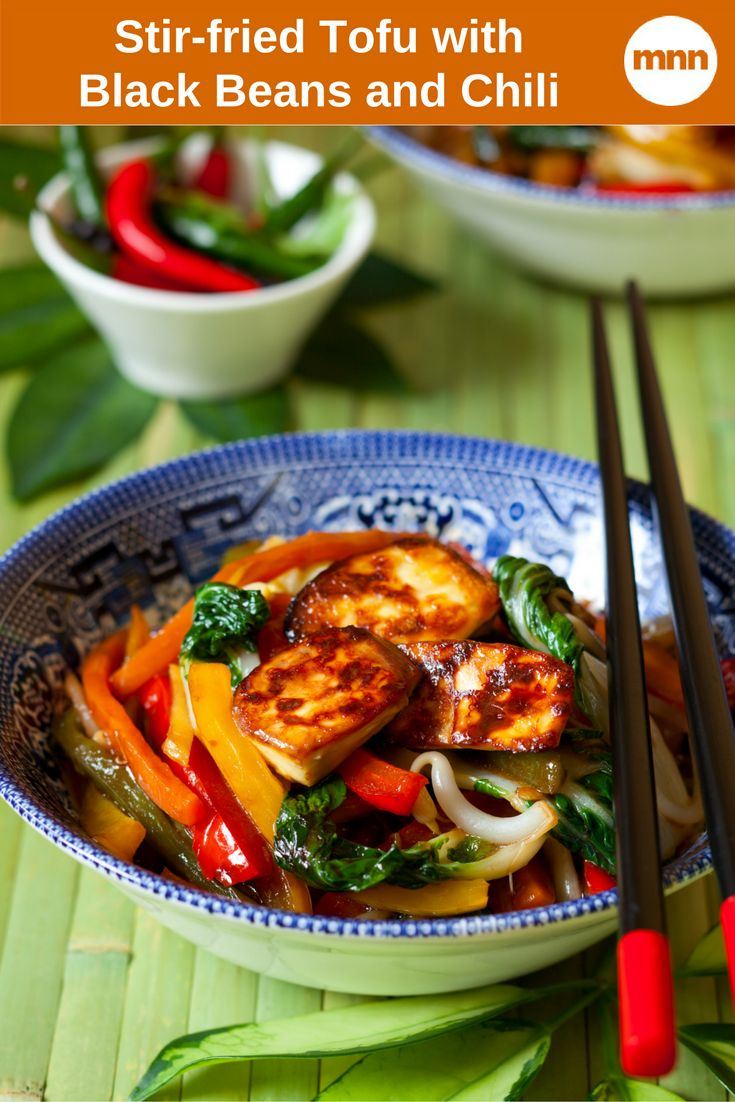 Stir-fried Tofu with Black Beans and Chili: Once you get everything chopped in similar sizes, this stir fry comes together in a flash — a hot and delicious flash.